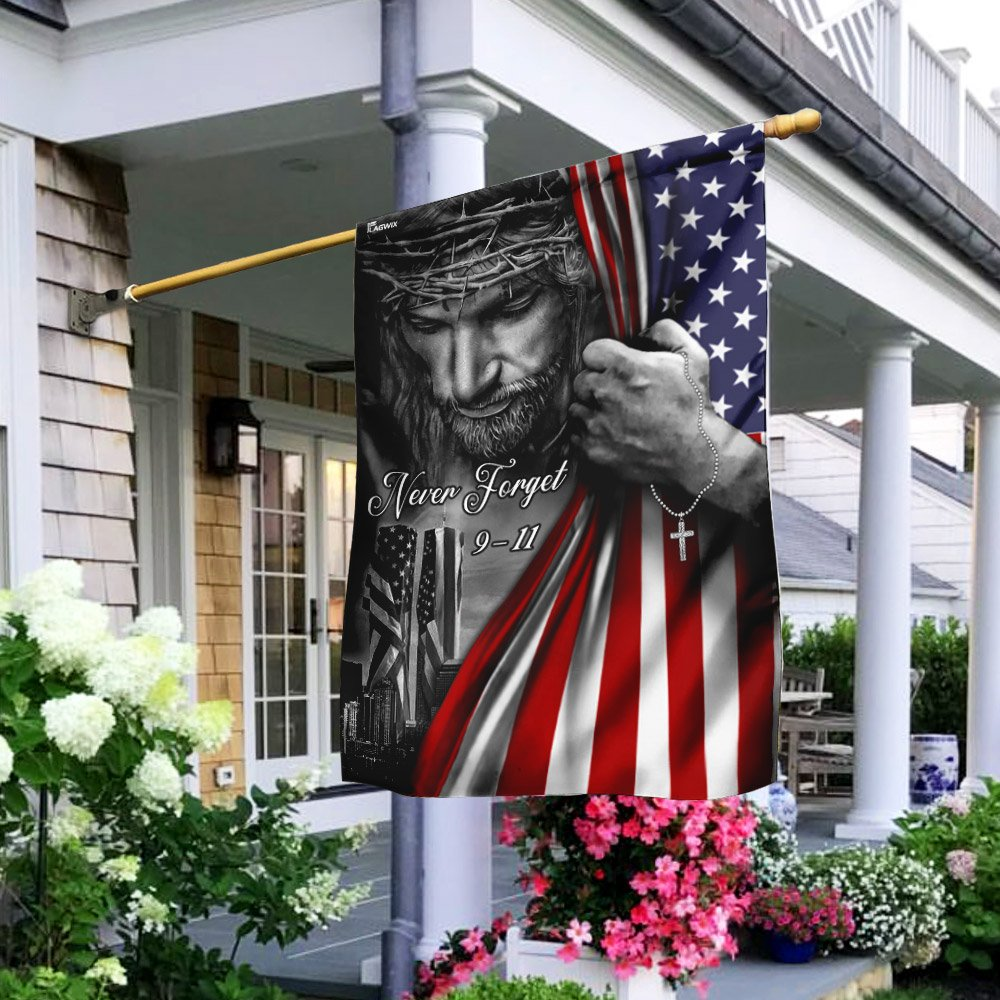 Jesus Christian Never Forget 911 American Flag