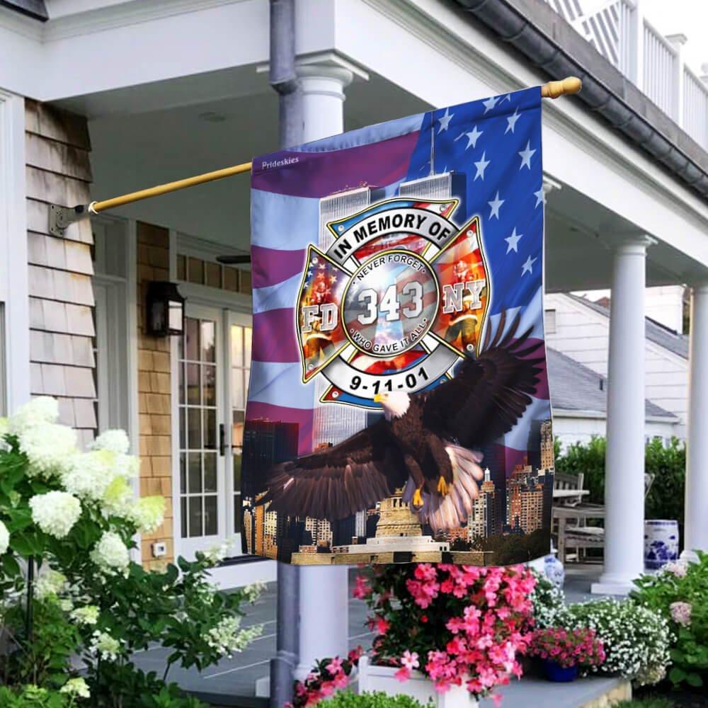 Firefighter 343 FDNY Never Forget September 11th Flag