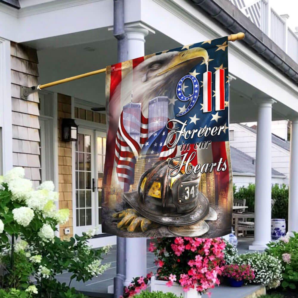 Firefighter 343 September 11th 2001 Forever In Our Hearts Flag