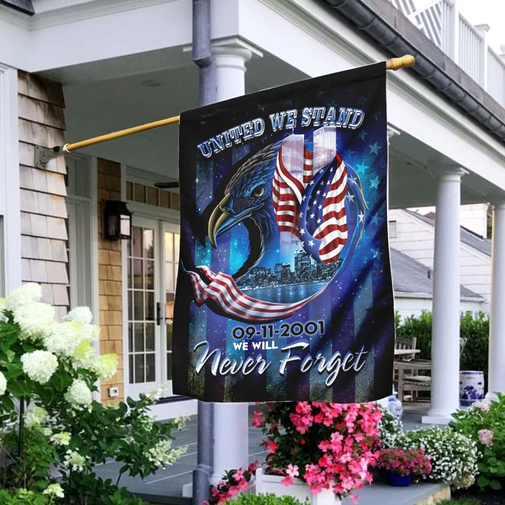 United We Stand September 11th We will Never Forget America Flag
