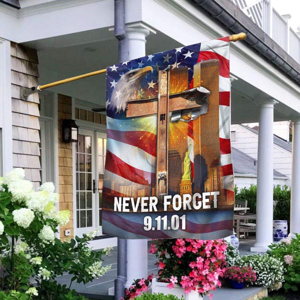 9-11-2001 Never Forget Patriot Day God Bless America Flag